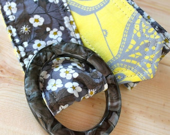 Liberty of London Floral Fabric Belt, Butter Yellow and Moonlight Gray