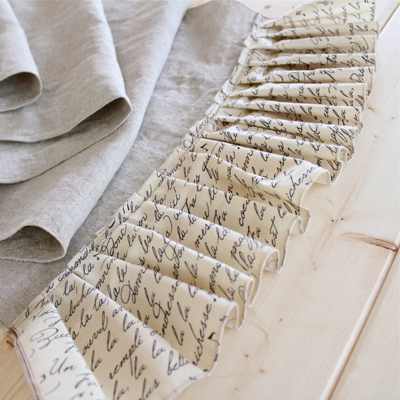 Natural Christmas Table Runner, Organic Linen and Script Printed Cotton fabrics