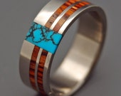 Wooden Wedding Rings, Titanium Wedding Ring, Light Cocobolo, Turquoise, Mens Ring, Womens Ring - COMET AND CONSTELLATION