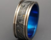 Titanium wedding ring, wedding band, wood ring, men's ring, woman's ring, black wood ring, titanium ring, something blue - SARTRE