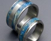 wedding rings, titanium rings, wood rings, mens rings, Titanium Wedding Bands, Eco-Friendly Rings, Wedding Rings - KIND OF BLUE