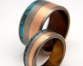 Titanium ring, turquoise ring, copper ring, wedding ring, men's ring, women's ring, unqiue ring - HUMAN AND DIVINE