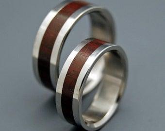Titanium wedding ring, Rosewood, wedding band, wooden ring, men's ring, woman's ring, titanium ring - THE HEART has its REASONS