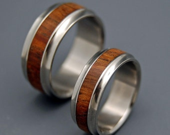 Titanium wedding rings, wooden wedding rings, minter and richter designs, unique wedding rings, KOA FLARE
