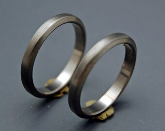 Titanium rings, wedding set, titanium wedding rings, commitment rings, unique wedding rings - BRUSHED, DARK, SLEEK and slim