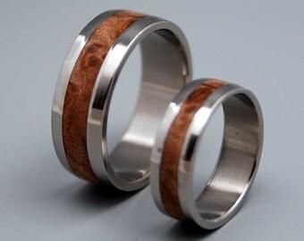 wedding ring, titanium rings, wood rings titanium wedding ring, men's ring, women's ring - MONTPELIER