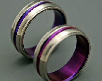 Titanium Wedding Bands, wedding rings, titanium rings, purple ring, men's rings, women's rings, commitment bands - PASSION FOR PURPLE