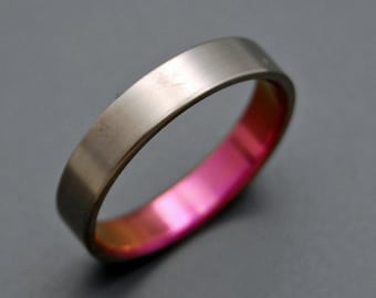 Titanium wedding ring, wedding ring, titaniun rings, mens ring, womens rings, eco-friendly - PINK LADY in SATIN