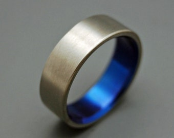 Titanium Wedding Bands, wedding rings, titanium rings, something blue, men's rings, women's rings, commitment bands - BRUSHED AND BLUE
