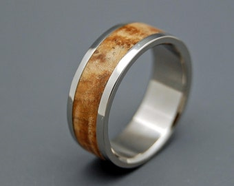Wooden Wedding Rings, titanium wedding rings, wood rings, mens rings, womens rings, maple wedding band - WOODSTOCK