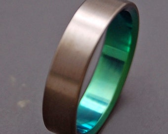 Titanium Wedding Bands,wedding rings, titanium rings, something blue, men's rings, women's rings, commitment bands - BRUSHED AND GREEN