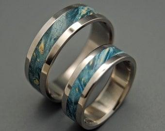 wedding rings, titanium rings, wood rings, mens rings, womens ring, Titanium Wedding Bands, Eco-Friendly Rings - STARRY STARRY NIGHT