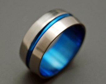 wedding rings, titanium rings, wood rings, mens rings, Titanium Wedding Bands, Eco-Friendly Wedding Rings, Wedding Ring- BLUE SIGNATURE RING