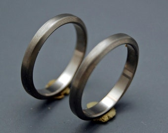 Titanium Wedding Bands, Titanium rings, matching wedding rings, mens ring, womens ring, eco-friendly ring - BRUSHED, dark, SLEEK, and SLIM