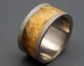 wedding rings, titanium rings, wood rings, mens rings, Titanium Wedding Bands, Eco-Friendly Rings, Wedding Rings - BLONDE BLASTED BUCKEYE