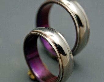 Titanium Wedding Bands, wedding rings, titanium rings, purple ring, men's rings, women's rings, commitment bands - LOVE'S GIFT SET