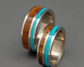 wooden wedding rings titanium wedding band koa turquoise wedding band wedding - Turquoise Wedding Ring