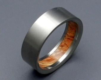 Wooden Wedding Rings, titanium ring, titanium wedding rings, Eco-friendly rings, mens ring, womens rings - HUMBLE MAJESTY brown box elder