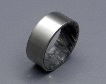 Titanium Wedding Rings, Wooden Wedding Rings, mens ring, womens ring, unique wedding ring, wood ring, black box elder wood ring - KORE