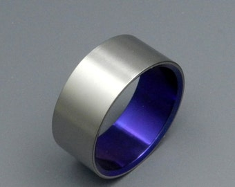 Titanium Wedding Bands, Womens Ring, Mens Ring, Eco-Friendly, Satin Finish - SIMPLE, SATIN and PURPLE