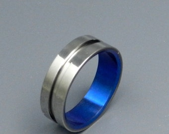wedding rings, titanium rings, wood rings, mens rings, Titanium Wedding Bands, Eco-Friendly Rings, Wedding Rings - LORD HENRY BLUE
