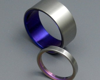 Titanium Wedding Bands, Unique Titanium Wedding Bands, Eco-Friendly Rings, Mens Rings, Womens Rings, Anodized Rings - BONNIE & CLYDE