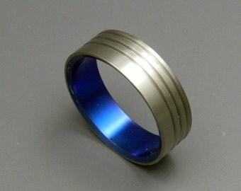 Titanium wedding ring, wedding ring, titaniun rings, mens ring, womens rings, eco-friendly - BLUE CONCERTO