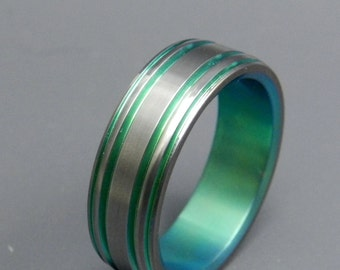 wedding rings, titanium rings, wood rings, mens rings, womens ring, Titanium Wedding Bands, Eco-Friendly Rings - GREEN LANTERN