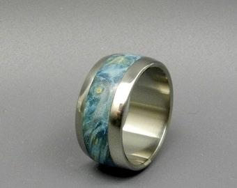 wedding rings, titanium rings, wood rings, mens rings, womens ring, Titanium Wedding Bands, Eco-Friendly Rings - BLUE EYES