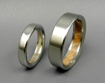 Wooden Wedding Rings, titanium wedding rings, wedding set, wood rings, men's rings, women's rings - HUMBLE MAJESTY