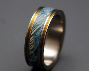 Titanium Wedding Ring, wood ring, wedding band, wooden ring, something blue, men's ring, woman's ring, bronze, wedding band - TRUE PARTNER