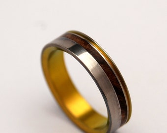 wedding rings, titanium rings, wood rings, mens rings, Titanium Wedding Bands, Eco-Friendly Rings, Wedding Rings - GOLDEN LIGHT BESIDE me