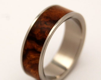Titanium Wedding Band, wooden wedding ring, mens ring, womens ring, eco-friendly ring, modern ring, unique wedding ring,  - DESERT ROSE