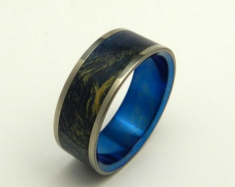 Wooden Wedding Rings, Titanium Wedding ring, Blue ring, mens ring, womens ring, anniversary ring, matching wedding bands - ONE SMALL STEP