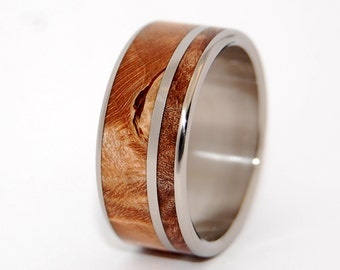 Wooden Wedding Rings, titanium ring, titanium wedding rings, Eco-friendly rings, mens ring, womens rings, wood rings - TWO SOLITUDES