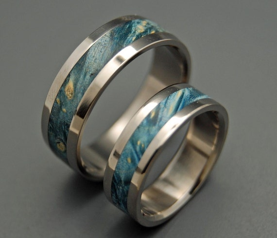 wedding rings, titanium rings, wood rings, mens rings, womens ring, Titanium Wedding Bands, Eco-Friendly Rings - STARRY STARRY NIGHT