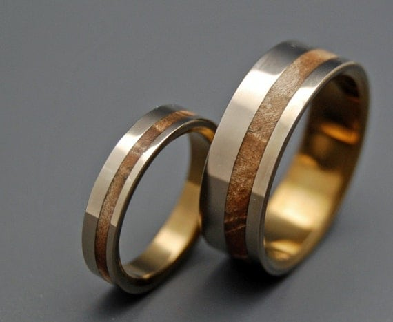 Wooden Wedding Rings, Titanium wedding ring, unique wedding ring, Maple wedding ring, handmade wedding ring, matching wedding - SILVER FAUN