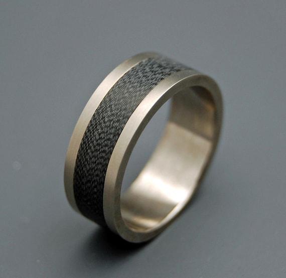 Titanium Wedding Ring, carbon fiber ring, Mens Rings, Womens Rings, Eco-Friendly Wedding Rings, Unique Wedding Rings, black ring - HEARTS