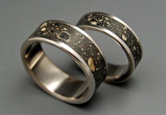 titanium ring, wedding ring, concrete, black titanium ring, mens ring, women's ring, unique wedding set, titanium wedding ring - CONCRESCO