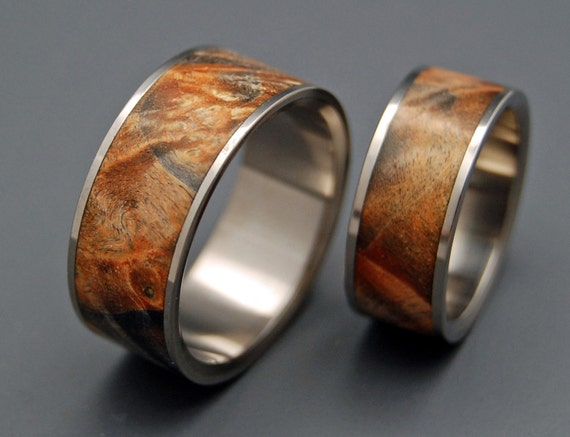 Wooden Wedding Rings, titanium ring, titanium wedding rings, Eco-friendly rings, mens ring, womens rings, wood rings - FAN THE FLAME