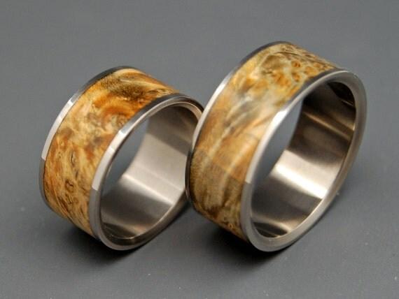 wedding ring, titanium rings, wood rings titanium wedding ring, men's ring, women's ring - FAN THE FLAME