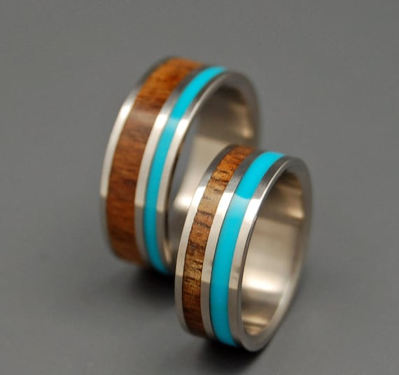 Wooden Wedding Rings Titanium Wedding Band Koa Turquoise