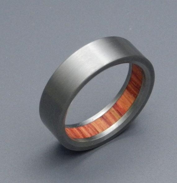 Wooden Wedding Ring, Titanium Wedding Band, wedding rings, titanium rings, men's rings, women's rings, wood ring - HUMBLE MAJEST TULIP wood