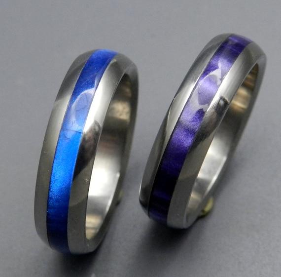 Titanium wedding ring, Purple ring, Blue ring, choose your own color ring, mens ring, womens ring, handmade ring, custom made ring-ENCHANTED
