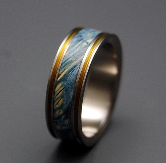 Items similar to Titanium Wedding Ring, wood ring, wedding ...