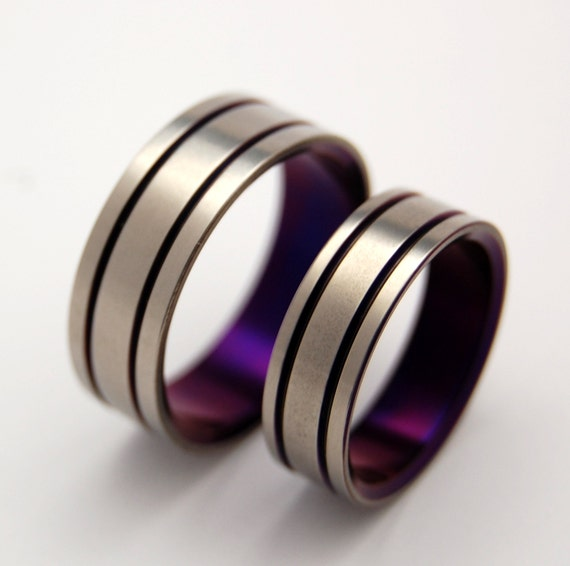 Titanium Wedding Band Set, purple wedding ring, mens ring, womens ring ...