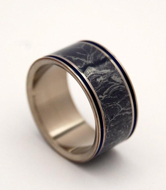titanium wedding ring, m3 ring, wedding band, titanium ring, blue and silver ring, mens ring, women's ring, engagement ring - MERLIN