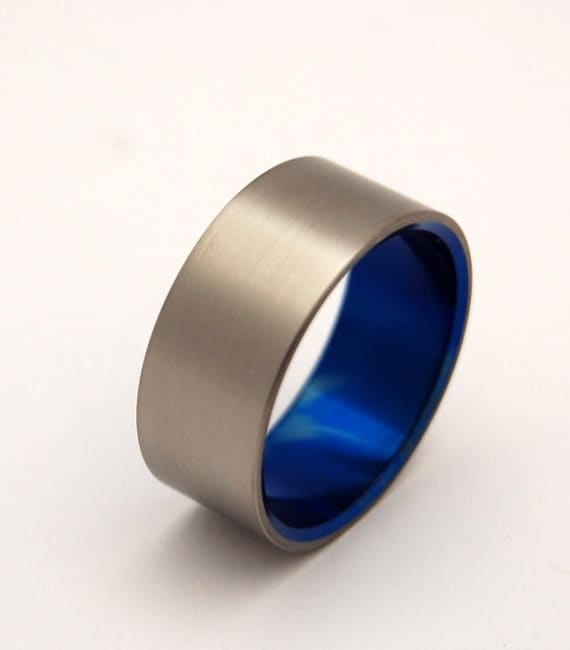 Titanium wedding ring, wedding ring, something blue, mens ring, womens rings, earth friendly, eco friendly - BRUSHED and BLUE
