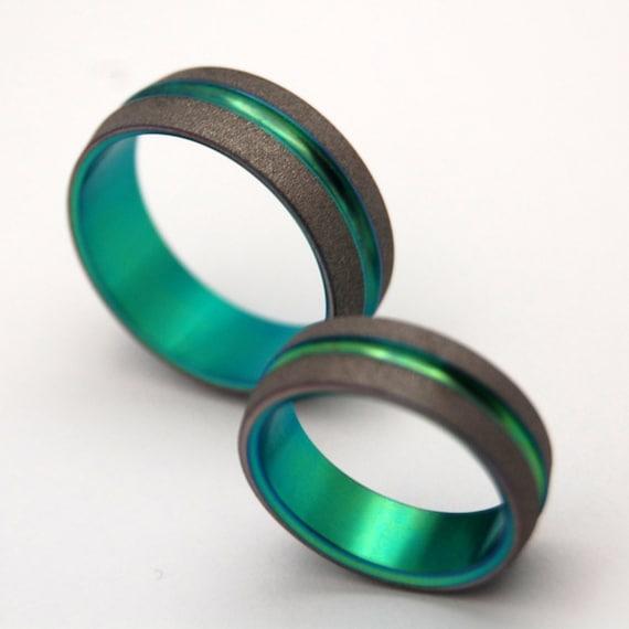 wedding rings, titanium rings, wood rings, mens rings, Titanium Wedding Bands, Eco-Friendly Rings, Wedding Rings - SANDBLASTED GREEN SIG