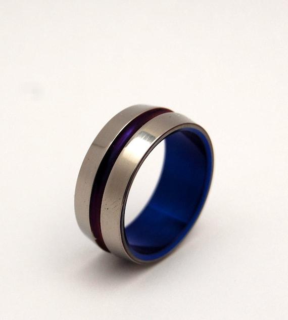 Titanium Wedding Bands, titanium ring, wedding ring, purple ring, Mens Ring, Womens Ring, Eco-Friendly, Opalescent Ring - PURPLE & BLUE SIG